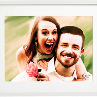 Custom Digital Portrait Painting in frame
