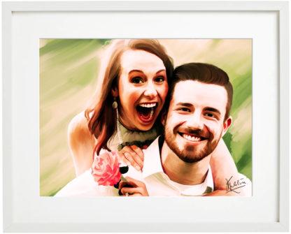 Custom Digital Portrait Painting in frame